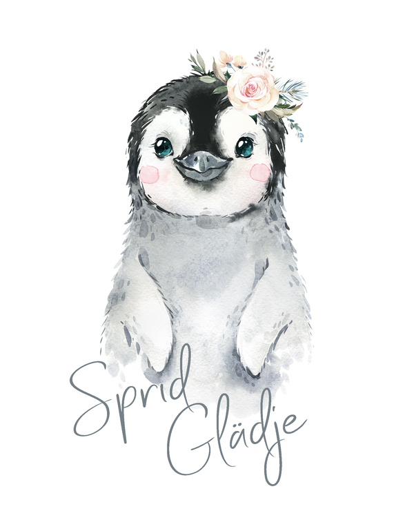 Pingvin - Sprid glädje ( Konsttryck / Poster )
