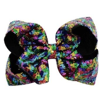 Hårspänne m. Rosett - Mörk Regnbåge / Rainbow