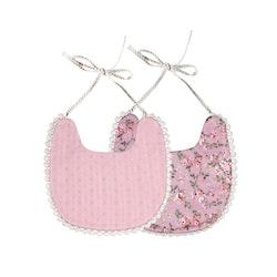 Haklapp / Dregglis - Blommigt rosa och dovt rosa mönster med pompoms