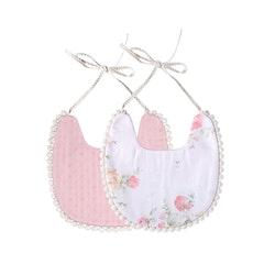 Haklapp / Dregglis - Blommigt och rosa dovt mönster med pompoms