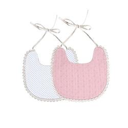Haklapp / Dregglis - Prickigt och rosa dovt mönster med pompoms