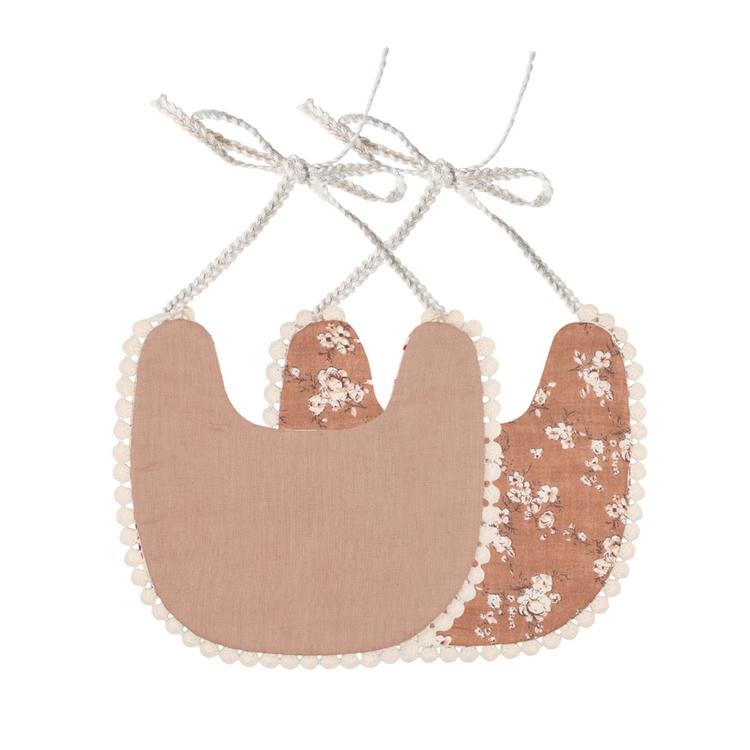 Haklapp / Dregglis - Blommigt pepparkaksbrun och ljus pepparkaksbrun med pompoms