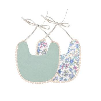 Haklapp / Dregglis - Blommigt vit och mintgrön med pompoms