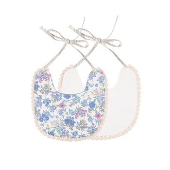 Haklapp / Dregglis - Blå Blommigt vit och gräddvit med pompoms