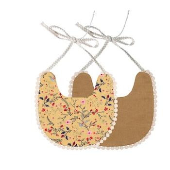 Haklapp / Dregglis - Blommigt ljus senapsgul och pepparkaksbrun med pompoms