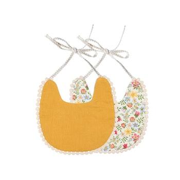 Haklapp / Dregglis - Blommigt vit och gul med pompoms