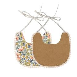 Haklapp /Dregglis - Blommor i olika färger vit och pepparkaksbrun med pompoms