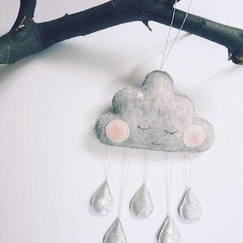 Moln med droppar - Silver