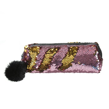 Pennfodral Glitter - Rosa m. Guld