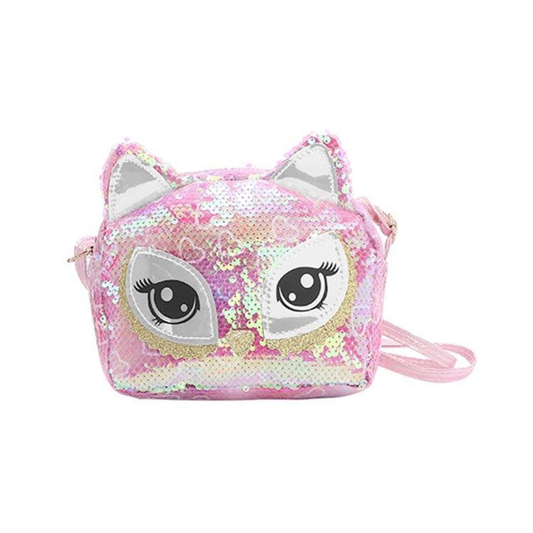 Handväska Paljett - Katt Rosa