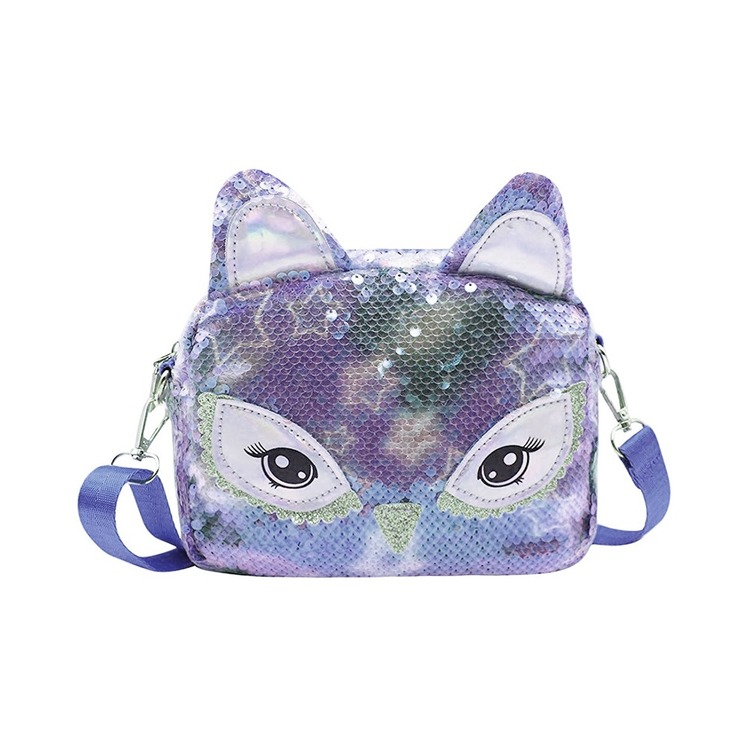 Handväska Paljett - Katt Blå