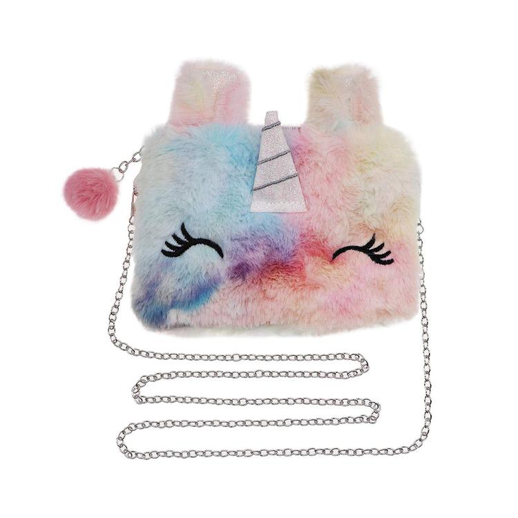 Handväska Päls - Enhörning Regnbåge