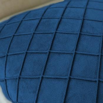 Kuddfodral Rutig Sammet- Blå