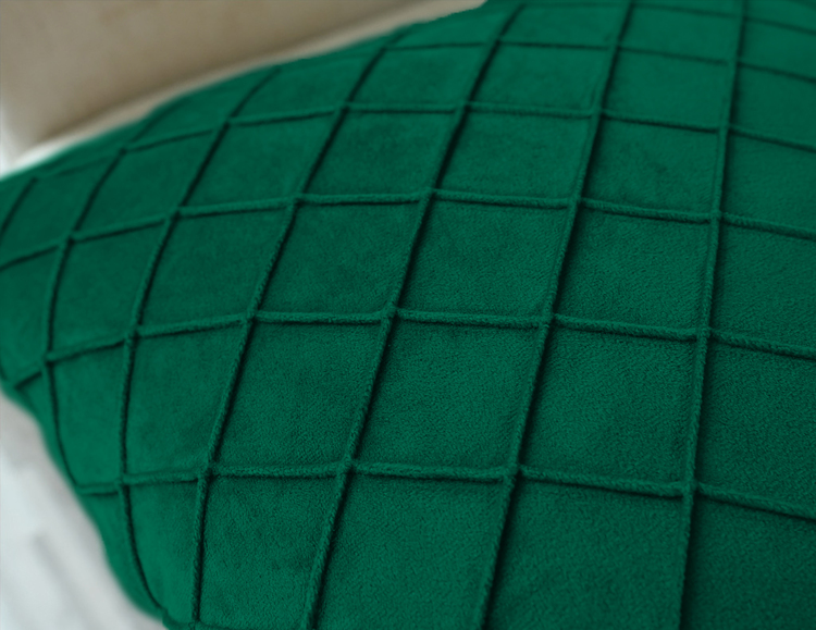 Kuddfodral Rutig Sammet- Grön