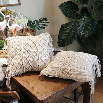 Kuddfodral med mönster och fransar - Flätad Vit