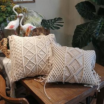 Kuddfodral i bomull med mönster och fransar - Romb Vit