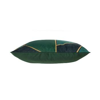 Kuddfodral Sammet - Mossgrön med mönster