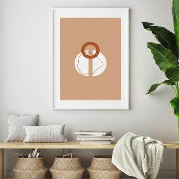 Poster Cirklar - Beige Bakgrund