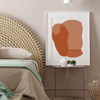 Grafisk poster - Beige och rödbrun övergång