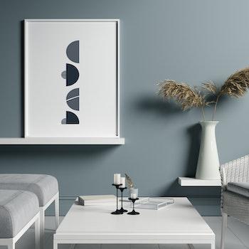 Poster Halvcirklar - Blå Grå