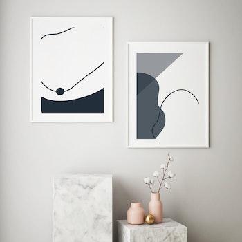 Grafisk poster - Tråd med grå svart nyans