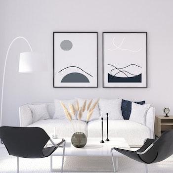 Grafisk poster - Abstrakt måne och moln