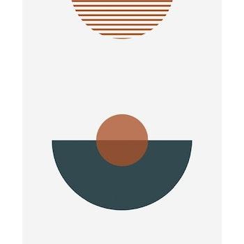 Grafisk poster - Halvcirklar och cirklar