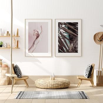 Poster/Konsttryck -  Palmblad vid stranden