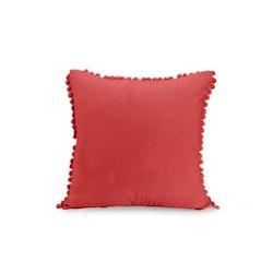 Kuddfodral i sammet med Pompoms - Röd