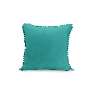 Kuddfodral i sammet med pompoms - Grön Blå