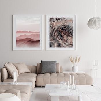 Poster/Konsttryck - Bergstoppar av pastell