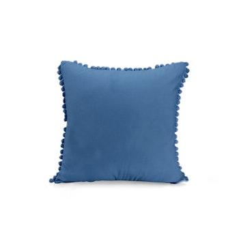 Kuddfodral i sammet med pompoms - Blå