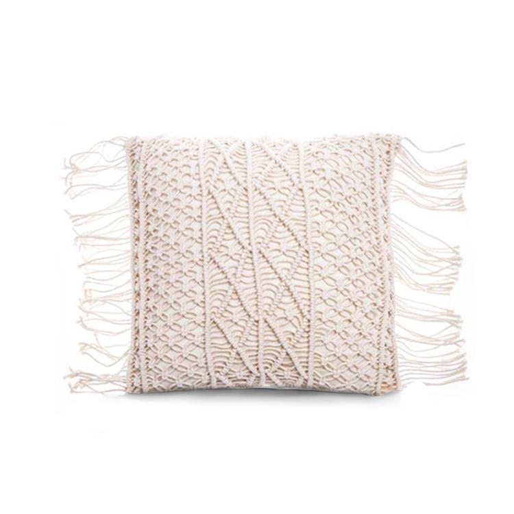 Kuddfodral i bomull med mönster och fransar - Kryss Vit