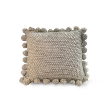 Kuddfodral med pompoms - Beige