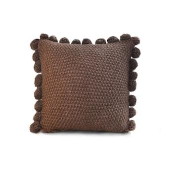 Kuddfodral med pompoms - Brun
