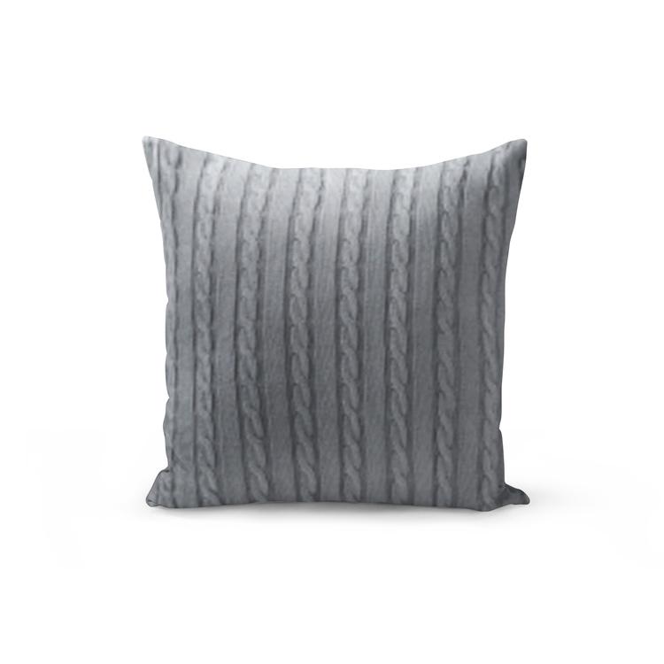 Kabelstickat kuddfodral - Ljusgrå