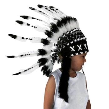 Fjäderskrud - Indian / Ursprungsamerikan  - Svart/Vit