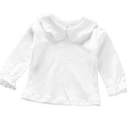 Långärmad Vit t-shirt med volandetaljer