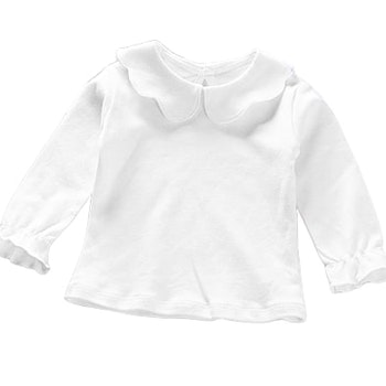 Långärmad Vit t-shirt med volangdetaljer