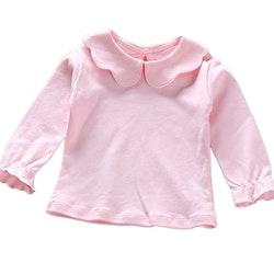 Långärmad Rosa t-shirt med volangdetaljer