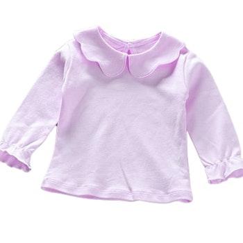 Långärmad Ljuslila t-shirt med volangdetaljer