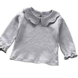 Långärmad Grå t-shirt med volangdetaljer
