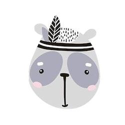 Väggdekoration - Tvättbjörn m fjäder