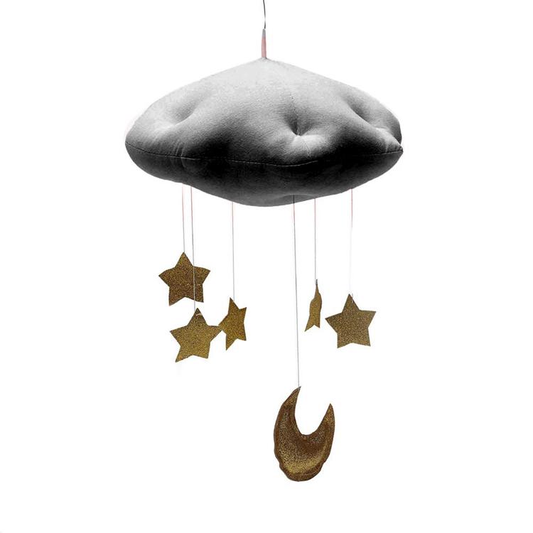 Sängmobil - Ljusgrå med guldstjärnor