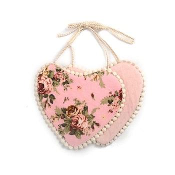 Haklapp / Dregglis - Hjärtformad Blommigt rosa och rosa med dovt mönster med pompoms