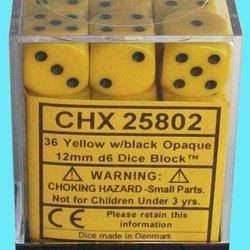 Chessex dice 12mm d6 yellow 36st