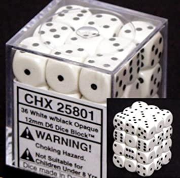 Chessex dice 12mm d6 vita 36st