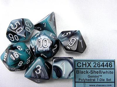 Chessex Gemini Black Shell White