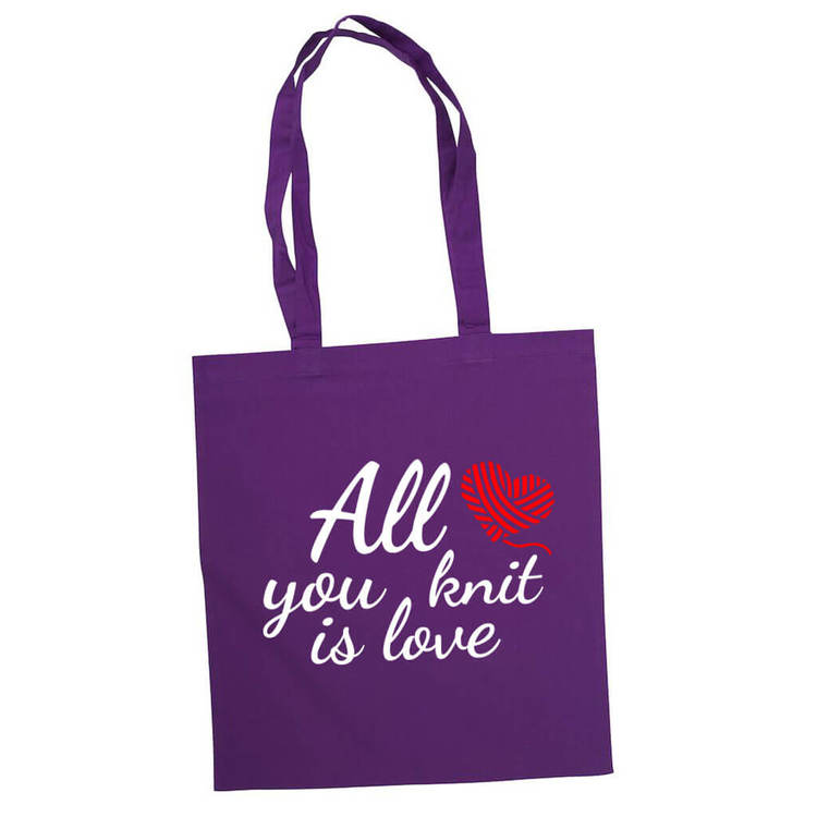 All you knit is love bærenett lilla
