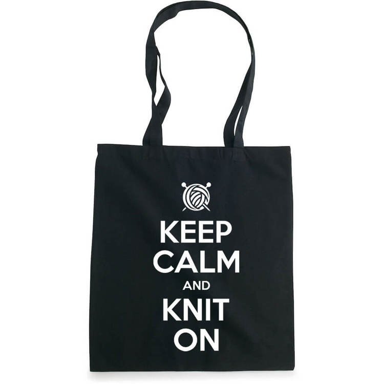 Keep Calm and Knit On bærenett sort